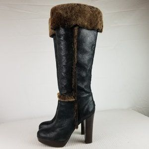 Tory Burch Womens sz 10 M Black Suede Leather Boot